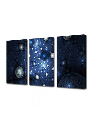 Set Tablouri Multicanvas 3 Piese Abstract Decorativ Constelatii