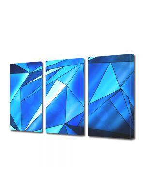 Set Tablouri Multicanvas 3 Piese Abstract Decorativ Triunghiuri albastre