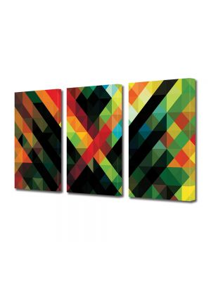Set Tablouri Multicanvas 3 Piese Abstract Decorativ Amalgam