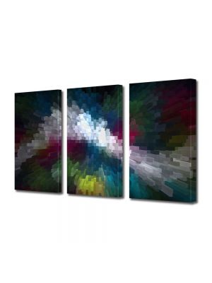 Set Tablouri Multicanvas 3 Piese Abstract Decorativ Distorsionat