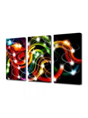 Set Tablouri Multicanvas 3 Piese Abstract Decorativ Sirag de lumini