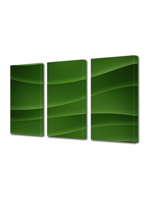 Set Tablouri Multicanvas 3 Piese Abstract Decorativ Dealuri verzi