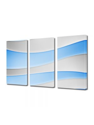 Set Tablouri Multicanvas 3 Piese Abstract Decorativ Dealuri albe si Bleu