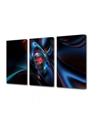 Set Tablouri Multicanvas 3 Piese Abstract Decorativ Nava spatiala