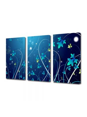 Set Tablouri Multicanvas 3 Piese Abstract Decorativ Flori