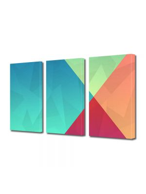 Set Tablouri Multicanvas 3 Piese Abstract Decorativ Patru culori