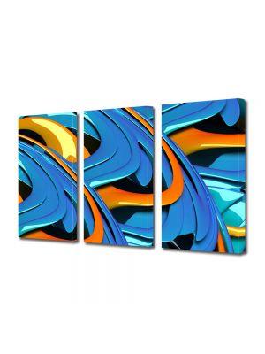 Set Tablouri Multicanvas 3 Piese Abstract Decorativ Albastru si portocaliu