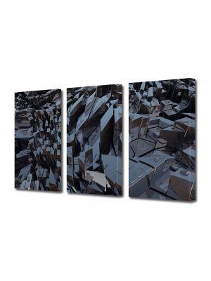 Set Tablouri Multicanvas 3 Piese Abstract Decorativ Metal
