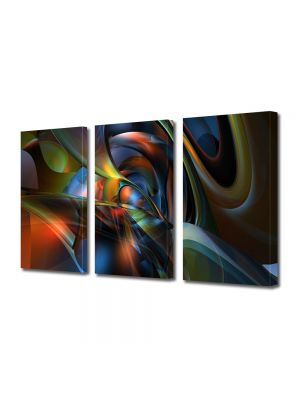 Set Tablouri Multicanvas 3 Piese Abstract Decorativ Nuante