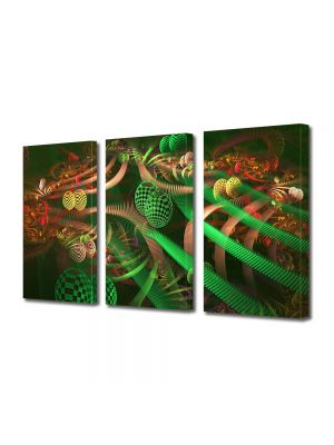 Set Tablouri Multicanvas 3 Piese Abstract Decorativ Colaj