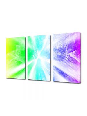 Set Tablouri Multicanvas 3 Piese Abstract Decorativ Raze de lumina