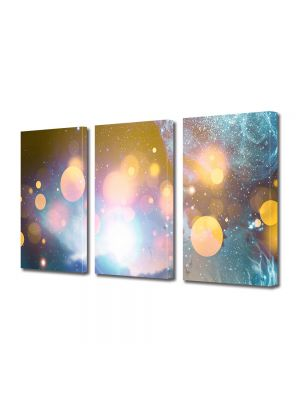 Set Tablouri Multicanvas 3 Piese Abstract Decorativ Energii portocalii