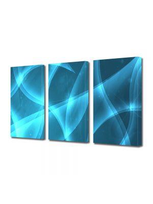 Set Tablouri Multicanvas 3 Piese Abstract Decorativ Lumina Bleu