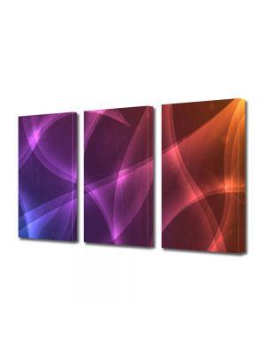 Set Tablouri Multicanvas 3 Piese Abstract Decorativ Lumini calde