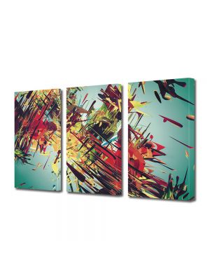 Set Tablouri Multicanvas 3 Piese Abstract Decorativ Vintage abstract
