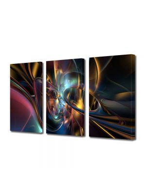 Set Tablouri Multicanvas 3 Piese Abstract Decorativ Lumini si forme