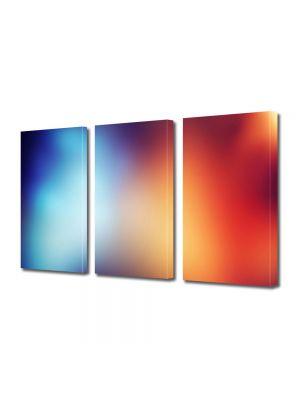 Set Tablouri Multicanvas 3 Piese Abstract Decorativ Rosu si albastru