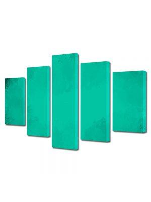 Set Tablouri Multicanvas 5 Piese Abstract Decorativ Turcoaz