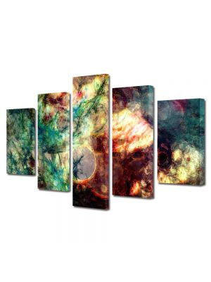 Set Tablouri Multicanvas 5 Piese Abstract Decorativ Crepuscul