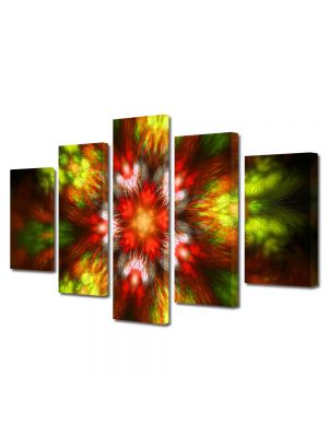 Set Tablouri Multicanvas 5 Piese Abstract Decorativ Forme de lumina