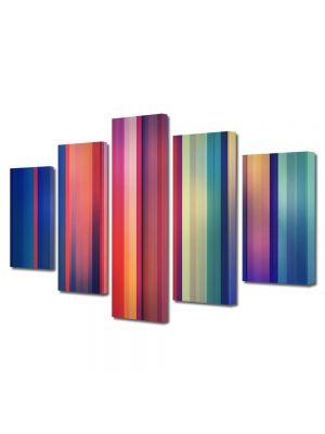 Set Tablouri Multicanvas 5 Piese Abstract Decorativ Spectru color