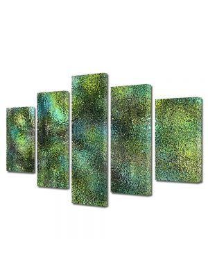 Set Tablouri Multicanvas 5 Piese Abstract Decorativ Verde scurs