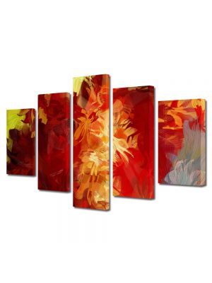 Set Tablouri Multicanvas 5 Piese Abstract Decorativ Culori scurse