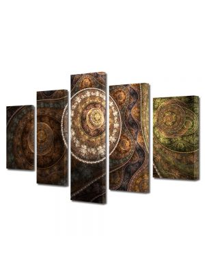 Set Tablouri Multicanvas 5 Piese Abstract Decorativ Vintage