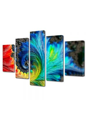 Set Tablouri Multicanvas 5 Piese Abstract Decorativ Pana colorata
