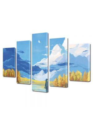 Set Tablouri Multicanvas 5 Piese Abstract Decorativ Animatie