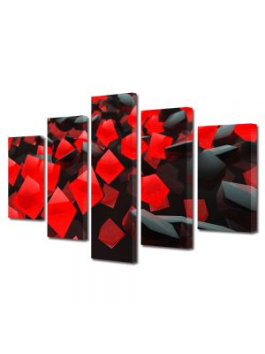 Set Tablouri Multicanvas 5 Piese Abstract Decorativ Cuburi rosi si negre