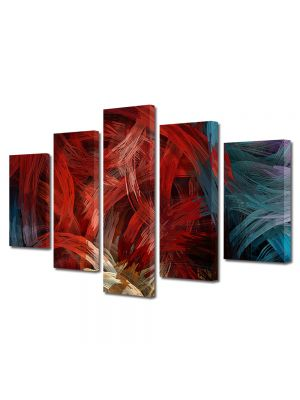 Set Tablouri Multicanvas 5 Piese Abstract Decorativ Noduri stilizate