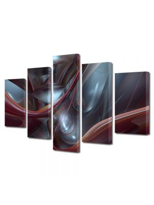 Set Tablouri Multicanvas 5 Piese Abstract Decorativ Plasma