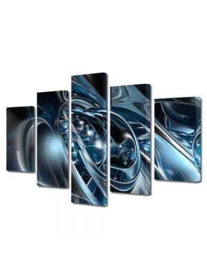 Set Tablouri Multicanvas 5 Piese Abstract Decorativ Metal topit