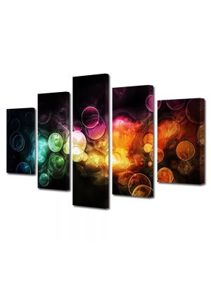 Set Tablouri Multicanvas 5 Piese Abstract Decorativ Lumini in ploaie