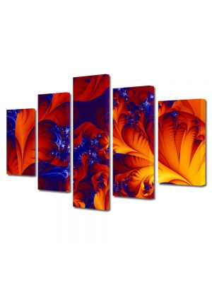 Set Tablouri Multicanvas 5 Piese Abstract Decorativ Petale