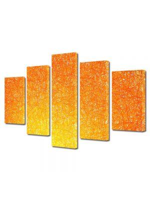 Set Tablouri Multicanvas 5 Piese Abstract Decorativ Orange