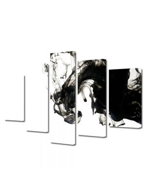 Set Tablouri Multicanvas 5 Piese Abstract Decorativ Fum B&W