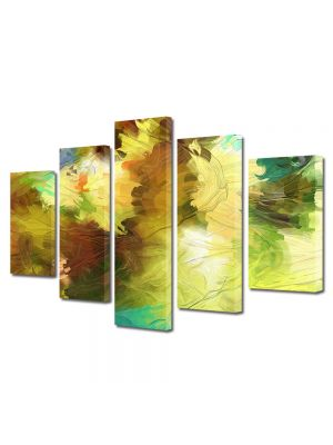 Set Tablouri Multicanvas 5 Piese Abstract Decorativ Dungi de pensula