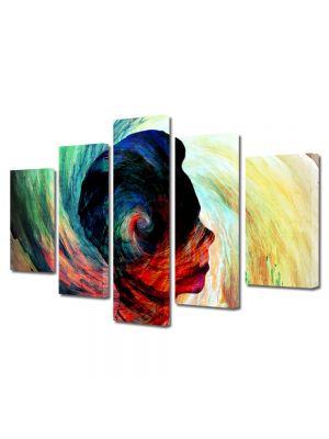Set Tablouri Multicanvas 5 Piese Abstract Decorativ Silueta