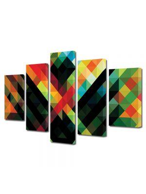 Set Tablouri Multicanvas 5 Piese Abstract Decorativ Amalgam