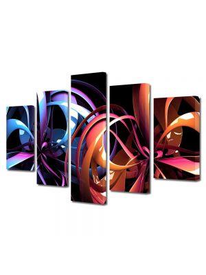 Set Tablouri Multicanvas 5 Piese Abstract Decorativ Carusel de culori