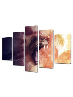 Set Tablouri Multicanvas 5 Piese Abstract Decorativ Furie