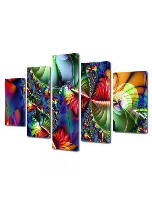 Set Tablouri Multicanvas 5 Piese Abstract Decorativ Colaj trepte