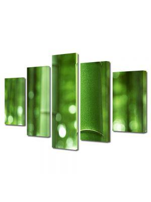 Set Tablouri Multicanvas 5 Piese Abstract Decorativ Bambus verde