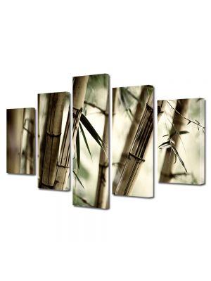 Set Tablouri Multicanvas 5 Piese Abstract Decorativ Bambus