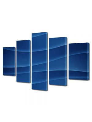 Set Tablouri Multicanvas 5 Piese Abstract Decorativ Dealuri albastre
