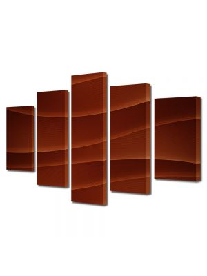Set Tablouri Multicanvas 5 Piese Abstract Decorativ Dealuri rosii
