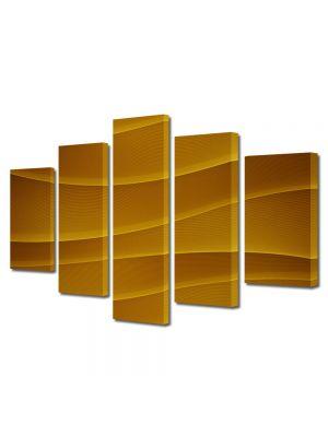Set Tablouri Multicanvas 5 Piese Abstract Decorativ Dealuri portocalii