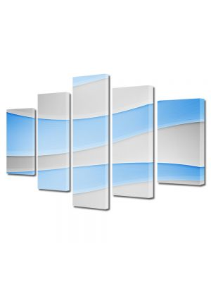 Set Tablouri Multicanvas 5 Piese Abstract Decorativ Dealuri albe si Bleu